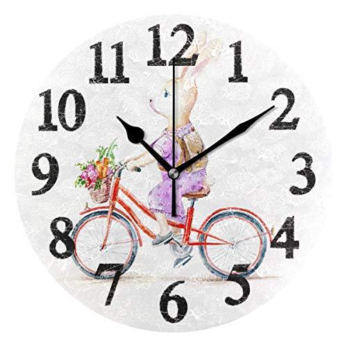 Conejo de Pascua en Bicicleta, Relojes de Pared, con Pilas, Decorativo para el hogar, Reloj de Pared Redondo, Cocina, Dormitorio, Sala de Estar, Aula, Reloj de Oficina