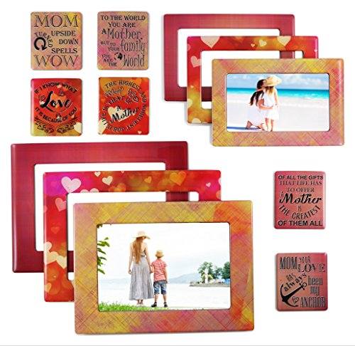 magnetic picture frames Mom - Magnetic Picture Frames and Refrigerator Magnets with Inspirational Quotes (12 Piece) Photo Collage - Mom Gift - Gift for Mother - Birthday Gift for Mom - Baby Shower