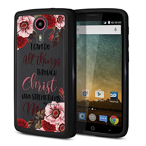 FINCIBO Case Compatible with ZTE N817 Quest Uhura, Slim Shock Absorbing TPU Bumper + Clear Hard Protective Case Cover for Quest Uhura - Christian Bible Verses Philippians 4:13