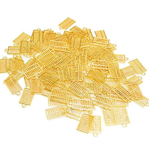 JIHUOO 20 abalorios colgantes de metal con diseño de ábaco dorado para colgar joyas y manualidades.