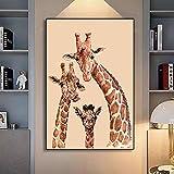 Familia moderna Ciervo Lienzo Arte de la pared Animal Pintura de la pared Niños Imagen decorativa del hogar para la sala de estar Dormitorio Pasillo 90x130cm (35.43x51.18in) Sin marco