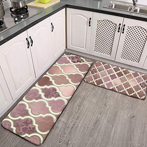 Juego de 2 alfombras de cocina, diseño de azulejos marroquíes rosadas y cobre; lavables y antideslizantes, para interiores y exteriores, juego de alfombras