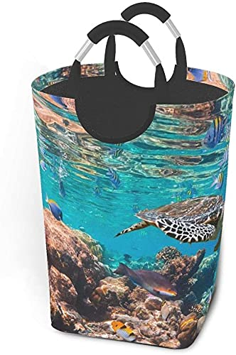 Laundry hampers Dirty Clothes Pack Hawksbill Turtle Eretmochelys Imbricata Foldable Fabric Clothes Bag Washing Bin