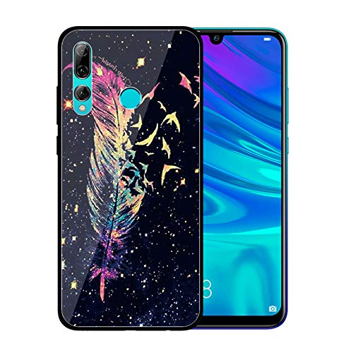 Funda Compatible con Huawei P Smart Plus 2019 Carcasas Cristal Vidrio Templado Glass Case Patrón Glitter Estuche Brillante Premium Silicona TPU Goma Case Duro Rígido Anti-Golpes Bumper,Pájaro Pluma