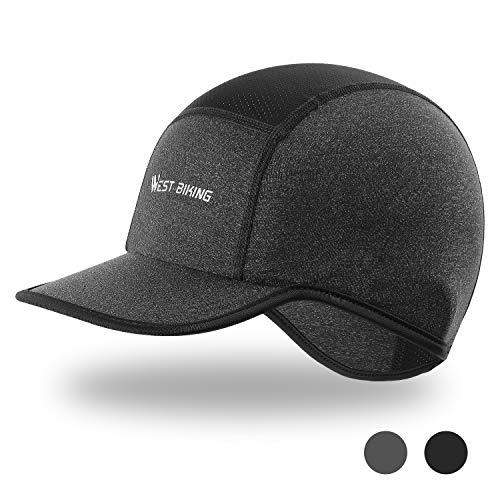 Mütze für Herren Damen Helm-Unterziehmütze, Sommermütze Kopftuch Atmungsaktive Fahrrad Kopfbedeckung, Unisex Bike Cap Radmütze für Radfahren Laufen Motorradfahren Skifahren (Schwarz, Grau)