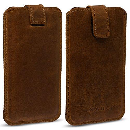 NAUC Honor 7X Smartphone Lederhülle Pull Tab Handy Sleeve Hülle Hülle Schutz Cover Bag, Farben:dunkel Braun