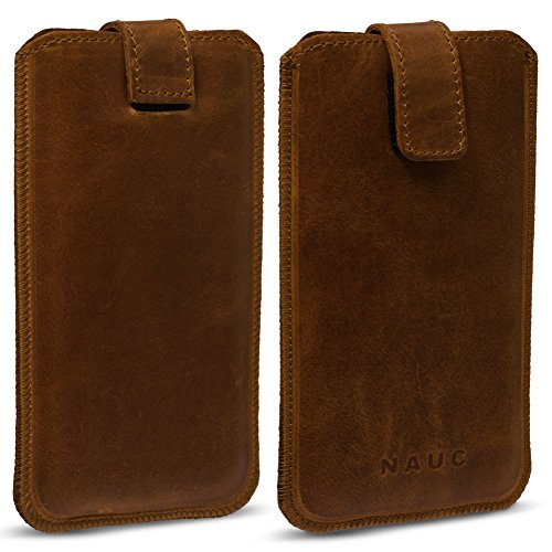 NAUC ARCHOS 55 Platinum Leder Tasche Pull Tab Sleeve Hülle Schutzhülle Hülle Cover Bag, Farben:dunkel Braun
