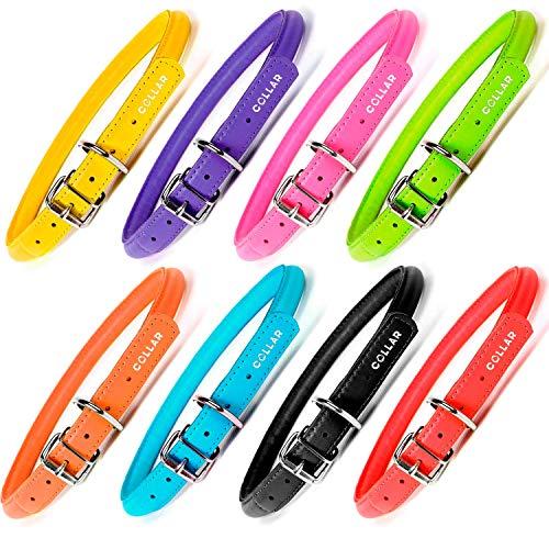 """COLLAR Halsband aus gerolltem Leder, rund, für kleine und mittelgroße Hunde, schmal, für Hundehalsband, Glamour Plus, X-Small 9 4/5"""" - 13"""" Neck, Orange"""