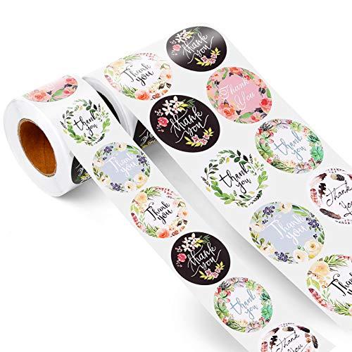 1000 pegatinas redondas de agradecimiento con 8 tipos de flores, pegatinas hechas a mano, hechas a mano con el texto Thank you para hornear, bolsas de regalo, sobre de boda(5 cm + 3,8 cm)