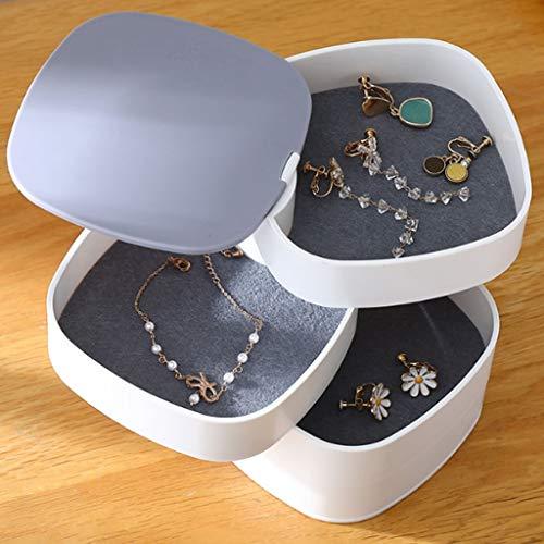 ZYS joyero Cajas para Caja de joyería para Mujer Accesorios de joyería de Almacenamiento portátil para Pendiente, Collar, Pulsera, Anillos de joyería giratoria Caja de Almacenamiento de Joyas