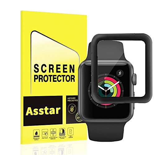 Apple Watch 38 mm, pellicola Asstar iWatch schermo in vetro temperato antigraffio resistente ai graffi 3D copertura completa per Apple Watch 38 mm Series 3/2/1 Cruz V2 Fresh Foam