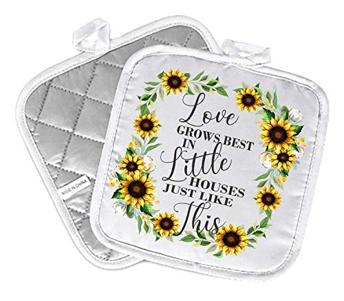 Decorative Kitchen Hot Plate Pot Holders | Love Grows Best In Little Houses Like This Sunflowers Yellow Green Spring Summer Fall | White Oven Home Decor Holiday Decorations | XMAS Gift Present