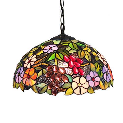 Candelabros de color - 16 pulgadas europeo clásico retro estilo tiffany estilo manchado flor floración creatividad colgante luz hecha a mano lámpara sombra Luces creativas de decoración del hogar