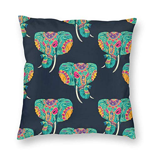 fenrris65 Day Dead Color Elephant Sugar Skull Art Pillow Case Throw Pillow Cover Square Cushion Cover 18X18 Inch