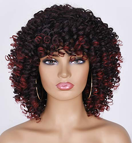 Goodly Black Roots Ombre Platinum Blonde Afro Short Curly Wig for Black Women Kinky Curly Short Afro Wig 1B/99J