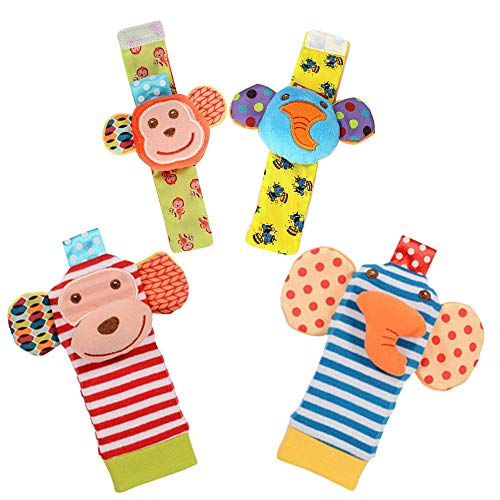 Product Image of the Daisy 4-Piece Animal Baby Infant Wrists Rattle and Socks Foot Finders Set...