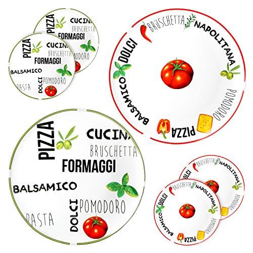 MamboCat 6er Set Pizzateller Tomate | Weiß mit Dekor I Grün & Rot I Ø 31cm - groß I Teller mit schönen Motiven & Schriftzügen I für Pizzen oder zum Anrichten