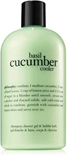 Philosophy Three in One Shampoo, Shower Gel and Bubble Bath 16 Fl Oz (Basil Cucumber Cooler)