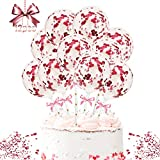 Cake Topper Globos, 12 Piezas Topper Tarta Cake Topper de Cumpleaños Topper de Pastel Decoración para Tartas Confeti Globos de Tartas, para Bodas Fiestas Cumpleaños Tartas (rojo)