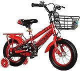 DFBGL Bicicleta para niños de 12 a 14 Pulgadas para niñas y niños de 3 a 9 años, con Ruedas de Entrenamiento, Frenos de Mano y Canasta, Rojo_14'