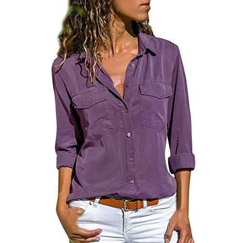 VECDY Camisa Casual De Manga Larga para Mujer Bolsillos con Cuello Abotonado Botones En La Parte Delantera Camiseta (Purple, S)