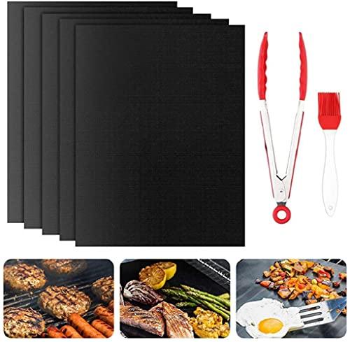 MINJIE BBQ Grillmatte 7 Stück Set(5 Stück Grillmatten mit 12