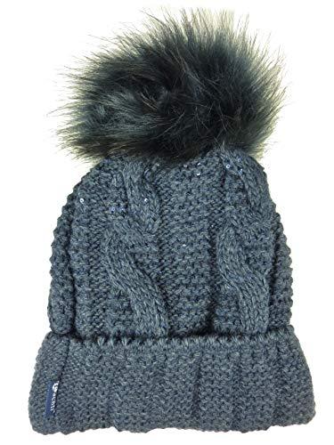 achti LOTTA coole uni Wintermütze mit Glitzer Effekt und großer Fell Bommel - warm gefüttert - (blau dunkelblau)