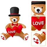 MIAHART 4Ft Valentines Inflatable Teddy Bear with Heart, Wedding Yard Decorations Indoor Outdoor Holiday Garden Home Lawn Decorations