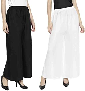 Aarju Fashion Women's Rayon Pant Palazzo Combo (Black and White, Free Size)