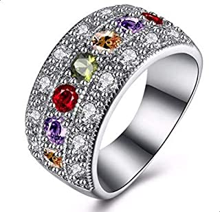 Silver ring for women with colored zircon stone size 8