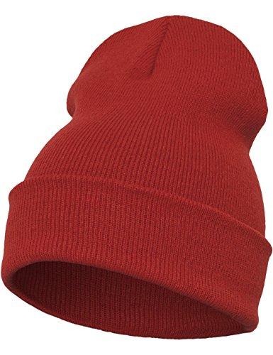 Flexfit - Gorro Largo Pesado, Todo el año, Unisex, Color Rojo, tamaño Talla única