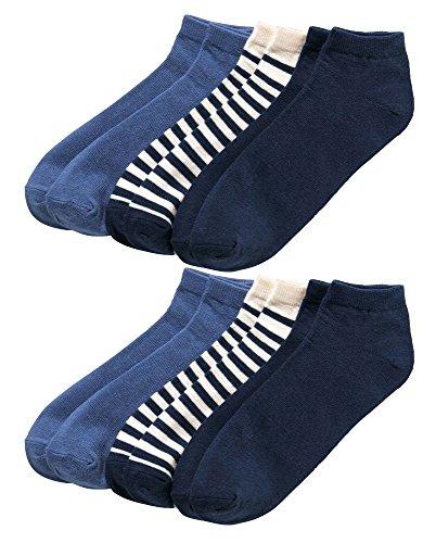 Esmara® Damen 6 Paar Sneakersocken (mittelblau/navy/creme - 2x Streifen/2x Uni navy/2x Uni mittelblau, Gr. 35-38)
