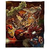 ARYAGO Manta de felpa de Capitán América Civil War, 130 x 153 cm, diseño de superhéroes de los Vengadores, Iron Man, mullida, acogedora manta para cama, sofá de viaje
