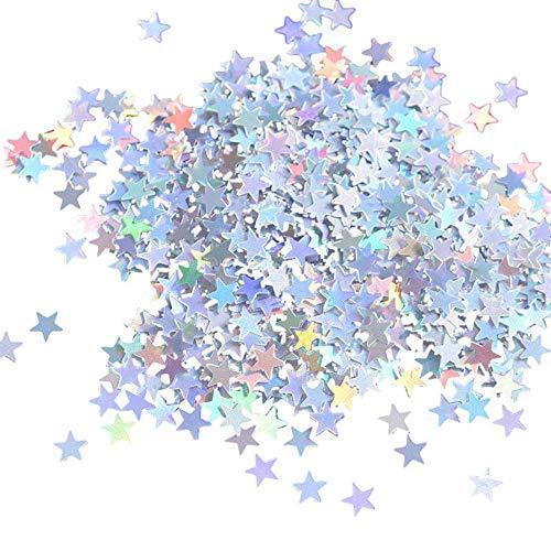 Huture Silber Stern Konfetti Tisch Stars Confetti Metallisch Folie Sterne Glitzer Pailletten Glitzerndes Metallfolie Papier Konfetti für Hochzeit Valentinstag Geburtstag Deko - 30 Gramm/ 1Unze