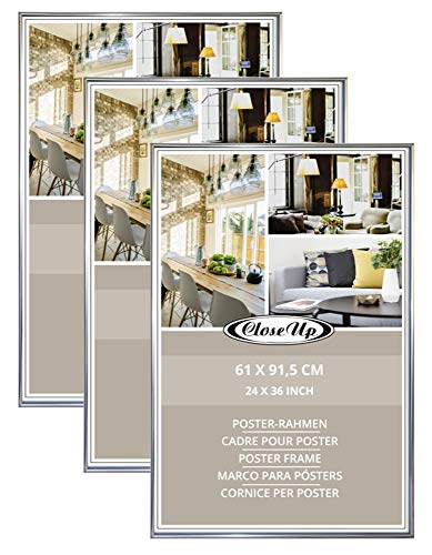 Close Up Posterrahmen-Set 3 STK. 61x91,5 cm Silber - Wechselrahmen für Maxi Poster, Qualitäts-Bilderrahmen, bruchsichere PVC-Scheibe