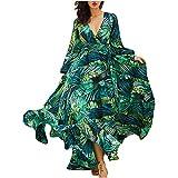 Bringbring 2021 Robe à Bretelles pour Femmes,Gilet De Col Rond Sexy,Longue Manches Imprimé Floral, Robe De Vacances D'éTé à La Plage, Robe De Style Bohème Robe Fluide et Élégant