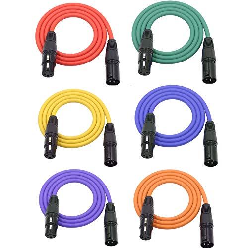 LoongGate, Mikrofonkabel, 3-poliges XLR-Kabel, Stecker / Buchse, geschirmtes Audiokabel 2M/6.5ft 6er-Pack