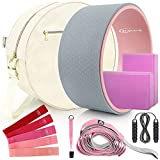 Yoga Wheel Set (11-in-1),Yoga Wheel Back Wheel for Back Pain, Yoga Blocks 2 Pack with Strap, Resistance Bands,Yoga Wheel Bag, Perfect Yoga Accessory for Stretching and Improving Backbends (Grey) from WYRJXYB
