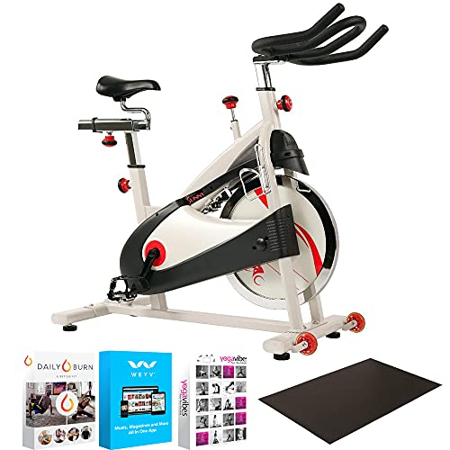 Sunny Health and Fitness SF-B1509 Exercise Belt Drive Bike Premium Indoor Cycling Bundle with 3' x 4' Equipment Mat for Treadmills, Rowers and All Exercise Machines + Fitness & Wellness Suite