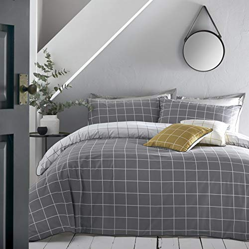 Appletree - Harvard Check - 100% Cotton Duvet Cover Set - Double Bed Size in Grey
