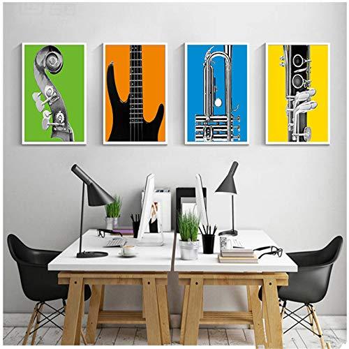 Creatieve muziekinstrumenten gitaar Canvas Schilderij Muur Foto Voor Kinderkamer Muur Posters en Prints Huisdecoratie 30x50cm (11,8