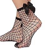 Calcetines Longra® de malla de encaje para peces, calcetines cortos de tobillo, muy populares para mujer, bonita decoración de lazo, red, Mujer, negro, talla única
