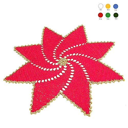 Tapete de ganchillo rojo y dorado para Navidad en algodón - Tamaño ...