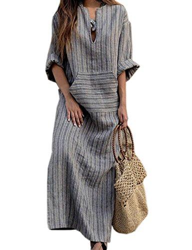 HAHAEMMA - Vestido para mujer de manga larga, estilo retro, de lino, de algodón, con blusa elegante, ancho gris XXL