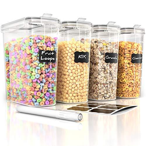 Simple Gourmet Aufbewahrungs-Set für Müsli, luftdicht, BPA-frei, mit Etiketten und Stift, 4 Stück