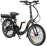 Elektro Faltfahrrad 20 Zoll Klappfahrrad E-Bike Faltbares Fahrrad Elektro Faltrad Klapprad Mit LED-Licht Ebike Damen Herren Load Capacity 120KG (Schwarz Orange- 10Ah Batterie)