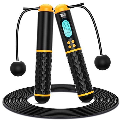 BNT Jump Rope, Speed Skipping Rope with Calorie Counter, Weighted Jump Ropes for Fitness, Jumping Rope with Adjustable Length, Cordless Jump Rope for Indoor and Outdoor Workout for Men,Women,Kids