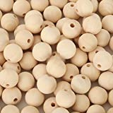 400pcs 20mm Natural Wood Beads - Unfinished Loose Wood Beads Crafts, Suitable for Home and Holiday Decor, DIY Jewelry Making