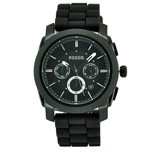 Exercise Gear, Fitness, Fossil Men's FS4487 Black Silicone Bracelet Black Analog Dial Chronograph Watch Shape UP, Sport, Training