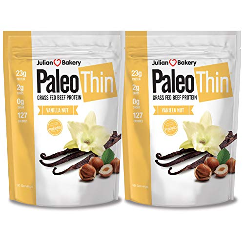 Julian Bakery Paleo Thin Protein Powder | Vanilla Nut | Grass-Fed Beef Protein | 23g Protein | 2 Net Carbs | 4 LBS | 60 Servings | 2 Pack